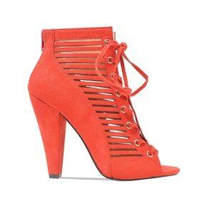 Women's Red Lace-Up Cut-Thru Heeled Bootie